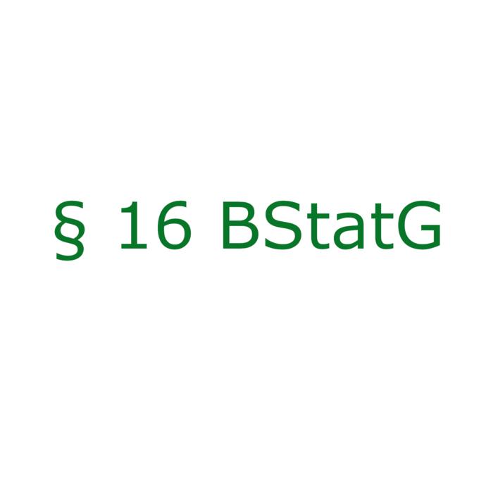 Der Paragraf 16 Bundesstatistikgesetz ist als grafisches Element dargestellt.