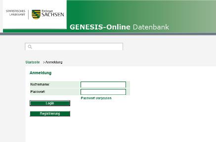 Startseite der Genesis-Online-Datenbank