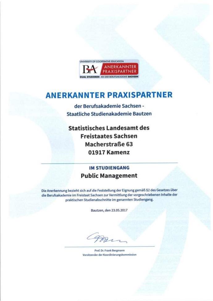 Nachweis der Berufsakademie Sachsen - Staatliche Studienakademie Bautzen für das Statistische Landesamt des Freistaates Sachsen als anerkannter Praxispartner im Studiengang Public Management.