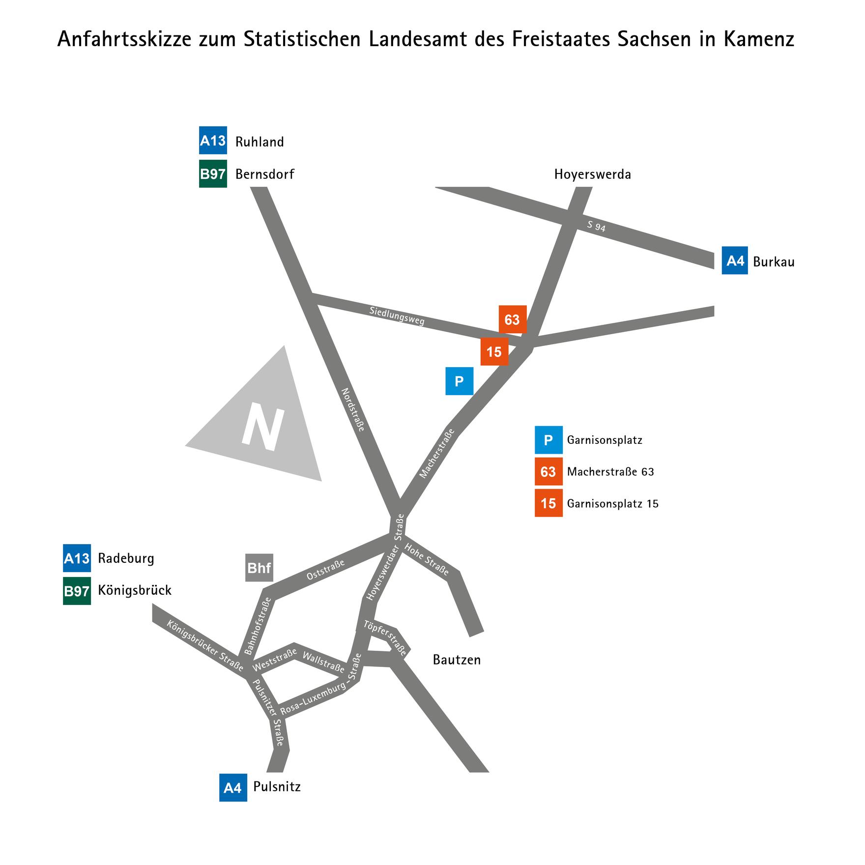 Das Bild zeigt eine Anfahrtskizze zum Statistischen Landesamt des Freistaates Sachsen.